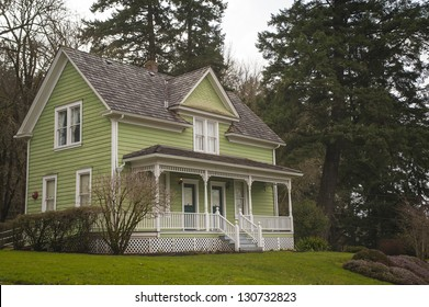 Old-fashioned farm house with a porch