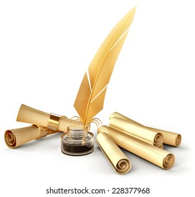 old-fashioned gold feather with ink and blank scrolls for writing business correspondence letters at old times
