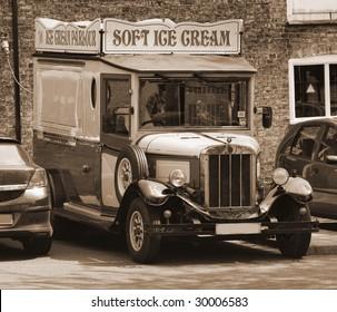 Old-fashioned ice cream truck in Cambridgeshire, England