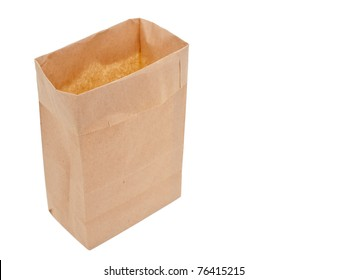 Old-fashioned lunch bag on white background