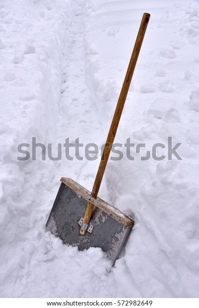 Oldfashioned Metal Shovel Snow Removal Wooden Stock Photo Edit Now