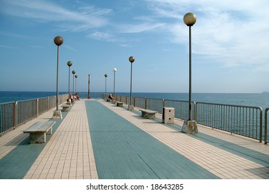 Old-fashioned pier in Pietra Ligure, Italy