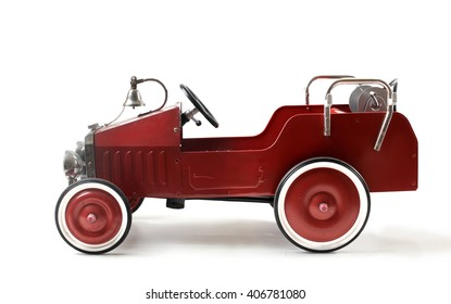 Old-fashioned red toy car