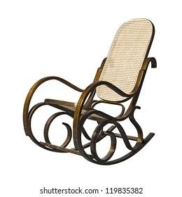 Merveilleux Old Fashioned Rocking Chair Isolated Over White