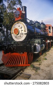 An old-fashioned steam locomotive, Mariposa Engine Number One, is on exhibit at the Travel Town Transportation Museum, Los Angeles, California