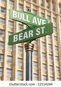 An old-Fashioned street sign for an intersection with street names that resemble the state of the coming market.