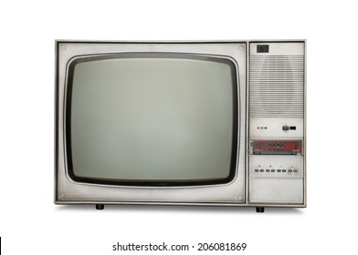 Old-fashioned tube TV isolated on a white background