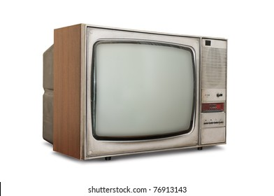 Old-fashioned tube TV isolated on a white background.