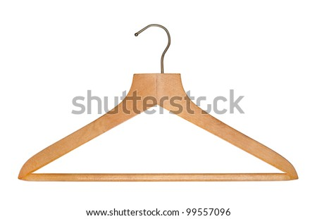 Oldfashioned Wooden Clothes Hanger Isolated On Stock Photo Edit Now