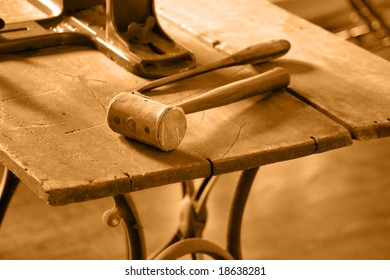 Old-fashioned worktable background tinted in sepia