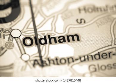 Oldham. United Kingdom on a map