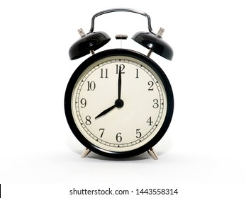 old-style alarm clock, black and white