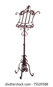 Old-style antique metal music stand isolated on the white wirh clipping path