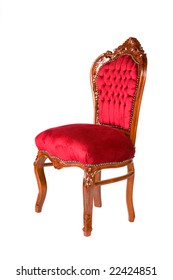 Delicieux Old Style Chair Red Velvet Isolated On White Background