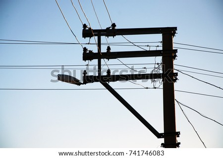 oldstyle electric poles cables cables air stock photo edit now rh shutterstock com