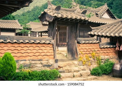 The old-style houses of a folk village in Asia.