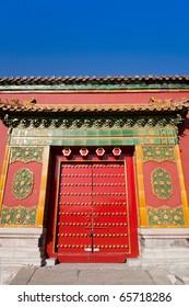 Old-styled door in the forbidden city, Beijing, China