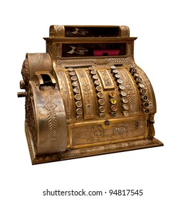 Old-time cash register in a shop. Isolated on white background.