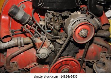 Oldtimer car air cooled engine close up