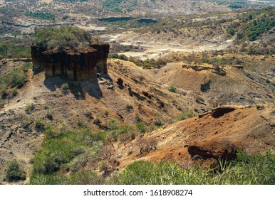Olduvai Gorge Scenic View in the Great Rift Valley, Tanzania, East Africa. An Important Paleoanthropological Site.