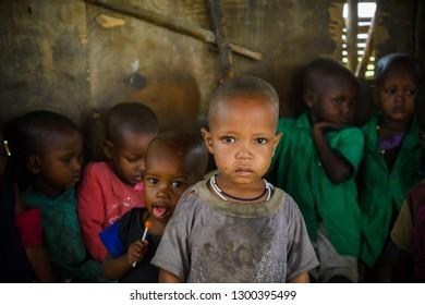 Olduvai Region, Tanzania Jan 24, 2019 Small child at a Masai Village Preschool