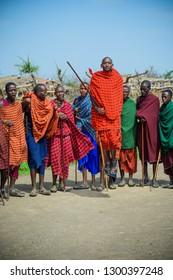 Olduvai Region, Tanzania Jan 24, 2019. Masai Warriors Dancing and Jumping