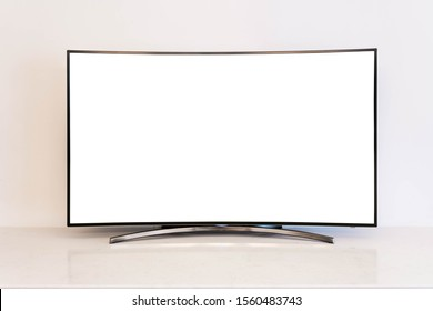 OLED curved TV isolated on white