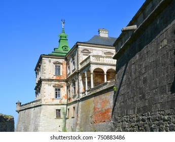 OLESKO UKRAINE 09 14 17: Olesko Castle is located within the borders of the present-day Busk Raion in Ukraine. Olesko Castle, oval in shape, stands on top of a small hill, about fifty meters in height