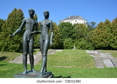 OLESKO UKRAINE 09 1417: Adam and Eve statue Olesko Castle is located within the borders of the present-day Busk Raion in Ukraine. Olesko Castle, oval in shape, stands on top of a small hill