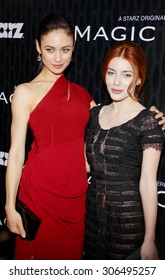 Olga Kurylenko and Elena Satine at the Los Angeles premiere of Starz Series 'Magic City' held at the DGA Theater in Hollywood, USA on March 20, 2012.