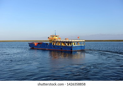 Olhao, Portugal - May 28, 2011: ferry boat that travels from Olhao to the island of Armona through the Ria Formosa Natural Park. Algarve region, southern Portugal