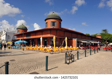 Olhao, Portugal - May 30, 2011: The famous fish market of Olhao a town with big fishing port in Algarve region, south of Portugal