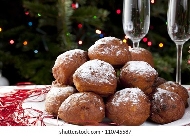 Oliebollen, similar to doughnut balls or holes, a tradition sweet treat in the Netherlands around Christmas