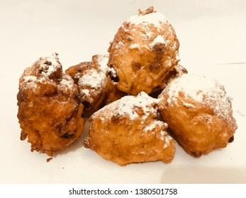 Oliebollen traditional Dutch sweet food.  Oliebollen are made of dough, like donuts.