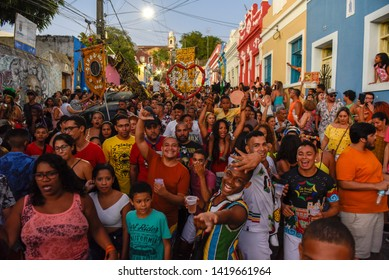 Olinda, Brazil - 27 January 2019: people parade in the streets during the carnival of Olinda on Brazil