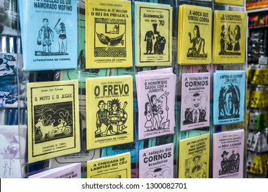 OLINDA, BRAZIL -Dec 24, 2018: Brazilian poem booklets called Literatura de Cordel, sold as souvenirs at locals stores in the northeast of the country.