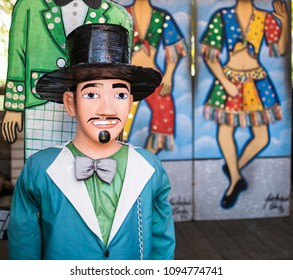 OLINDA, BRAZIL - MARCH 20, 2018: Brazilian carnival festival decoration used in Olinda, PE, Brazil during the local carnival festival made of wood, fabric, and paper and painted with vibrant colors.