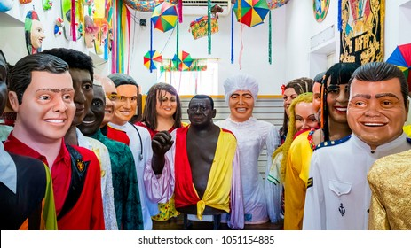OLINDA, BRAZIL - MARCH 20: collection of the famous giant dolls of Olinda's carnival festival gathered in the same room photographed in Olinda, Pernambuco, Brazil during a public exhibition.