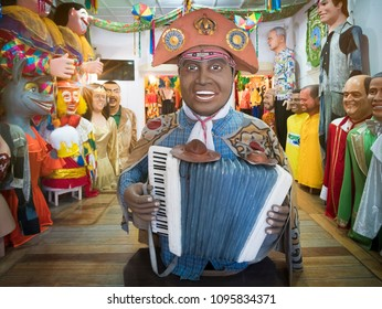 OLINDA, BRAZIL - MARCH 25, 2018: Brazilian Carnival Festival Decor from the city of Olinda in Pernambuco, Brazil made of paper, fabric, and wood and painted with vibrant colors.