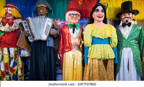 OLINDA, BRAZIL - MARCH 25, 2018: Brazilian carnival decor from the city of Olinda in the state of Pernambuco, Brazil made of wood, fabric, and paper mache and painted with vibrant colors.