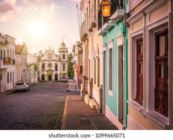 OLINDA, BRAZIL - MARCH 25, 2018: The historic Brazilian city of Olinda in the State of Pernambuco, Brazil at sunrise with its cobblestone streets and Baroque style building.