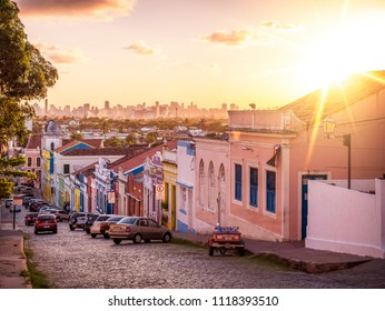 OLINDA, BRAZIL - MARCH 25, 2018: The historic architecture of Olinda in Pernambuco, Brazil at sunset with its colonial buildings and cobblestone streets.