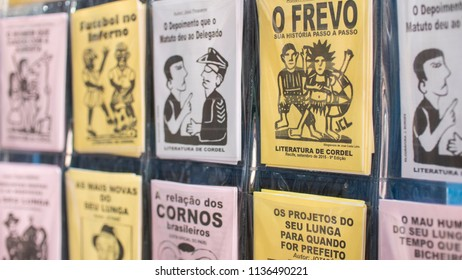 OLINDA, BRAZIL -MARCH 25, 2018: Brazilian poem booklets called Literatura de Cordel, sold as souvenirs at locals stores in the northeast of the country.