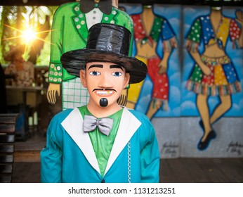 OLINDA, BRAZIL - MARCH 26, 2018: Brazilian Carnival Festival decor typical of the Brazilian city of Olinda in the state of Pernambuco made of cloth, wood, paper mashe.