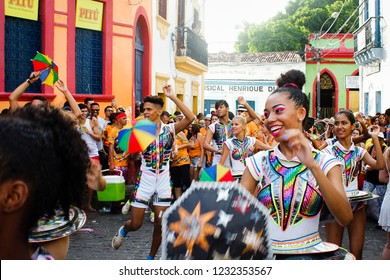 Olinda, Pernambuco, Brazil, in February 2017. Culture Popular. Frevo: manifestation of the popular culture of Pernambuco. Passistas de frevo presenting a performance in Quatros Cantos.