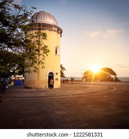 OLINDA, PERNAMBUCO, BRAZIL - OCTOBER 15, 2018: The colonial architecture of Olinda in Pernambuco, Brazil at sunset showcasing Alto da Se at Cidade Alta.