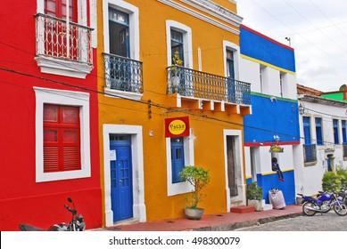 OLINDA, RECIFE, BRAZIL, SEPTEMBER 1, 2009. Facades of beautiful colourful houses in Olinda, Recife, Brazil, on September 1st, 2009.