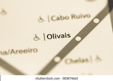 Olivais Station. Lisbon Metro map.