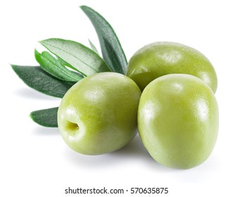 Olive berries and olive leaves isolated on a white background.
