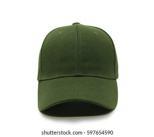 Olive blank baseball cap closeup of front view on white background